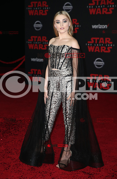 LOS ANGELES, CA - DECEMBER 9: Meg Donnelly, at Premiere Of Disney Pictures And Lucasfilm's 'Star Wars: The Last Jedi' at Shrine Auditorium in Los Angeles, California on December 9, 2017. Credit: Faye Sadou/MediaPunch /NortePhoto.com NORTEPHOTOMEXICO