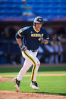 Michigan Wolverines first baseman Carmen Benedetti (43) runs to first during the second game of a doubleheader against the Canisius College Golden Griffins on February 20, 2016 at Tradition Field in St. Lucie, Florida.  Michigan defeated Canisius 3-0.  (Mike Janes/Four Seam Images)