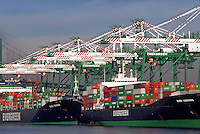 Container ship docked, Port of Los Angeles, San Pedro, California