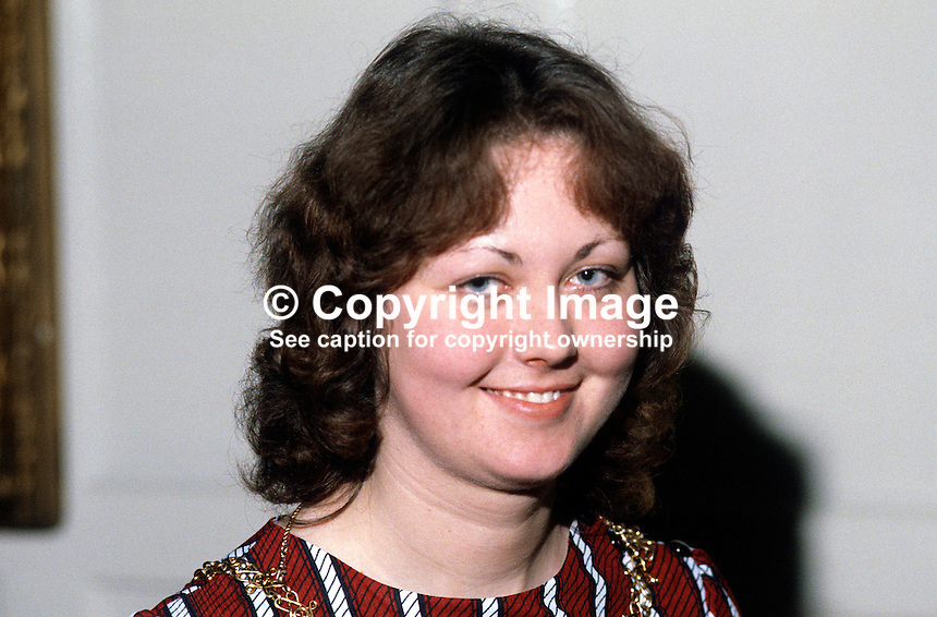 Mrs Pauline Whittley, Democratic Unionist Party councillor, and High Sheriff, Belfast, N Ireland. February 1984. 19840017PW..Copyright Image from Victor Patterson, 54 Dorchester Park, Belfast, UK, BT9 6RJ..Tel: +44 28 9066 1296.Mob: +44 7802 353836.Voicemail +44 20 8816 7153.Skype: victorpattersonbelfast.Email: victorpatterson@me.com.Email: victorpatterson@ireland.com (back-up)..IMPORTANT: If you wish to use this image or any other of my images please go to www.victorpatterson.com and click on the Terms & Conditions. Then contact me by email or phone with the reference number(s) of the image(s) concerned.