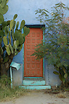 Aging doorway and cactus in the Barrio Historico, Tucson, Arizona