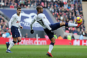 2nd February 2019, Wembley Stadium, London England; EPL Premier League football, Tottenham Hotspur versus Newcastle United; Lucas Moura of Tottenham Hotspur controls the ball