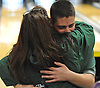 Chris Vietri of Holy Trinity gets a congratulatory hug from his mother Darlene Vietri after winning the NYSCHSAA boys bowling individual championship at AMF Babylon Lanes on Saturday, Mar. 5, 2016. He rolled a four-game series of 982. As a top five finisher (second place) in the tournament, he qualified for a step ladder format playoff which he won to claim the Catholic state crown.