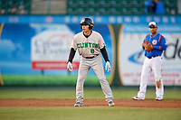 Clinton LumberKings second baseman Bryson Brigman (8) leads off second base during a game against the South Bend Cubs on May 5, 2017 at Four Winds Field in South Bend, Indiana.  South Bend defeated Clinton 7-6 in nineteen innings.  (Mike Janes/Four Seam Images)