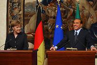 Roma, 19, Dicembre 2005..Silvio Berlusconi con il cancelliere tedesco Angela Merkel