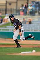 Joey Rose (24) of the Missoula Osprey takes off for second base during the game against the Billings Mustangs at Dehler Park on August 21, 2017 in Billings, Montana.  The Osprey defeated the Mustangs 10-4.  (Brian Westerholt/Four Seam Images)