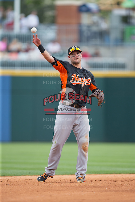 Norfolk Tides shortstop Paul Janish (11) on defense against the Charlotte Knights at BB&T BallPark on June 7, 2015 in Charlotte, North Carolina.  The Tides defeated the Knights 4-1.  (Brian Westerholt/Four Seam Images)