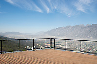 View from the master bedroom bathroom balcony. Private house by architect Tatiana Bilbao in Monterrey, Nuevo Leon Mexico