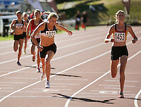 Auckland's Katrina Anderson wins the women's under-16 400m ahead of Waikato Bay of Plenty's Katherine Camp (right) during day two of the National athletics championships at Newtown Park, Wellington, New Zealand on Saturday, 28 March 2009. Photo: Dave Lintott / lintottphoto.co.nz