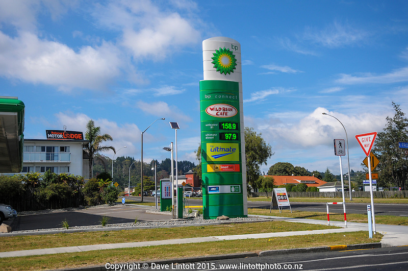 Petrol price sign at BP Service Station, Rotorua, New Zealand on Saturday, 17 January 2015. Photo: Dave Lintott / lintottphoto.co.nz