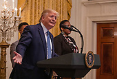 United States President Donald J. Trump delivers remarks at the Young Black Leadership Summit 2019 at the White House in Washington, D.C. on Friday October 4, 2019.     <br /> Credit: Tasos Katopodis / Pool via CNP