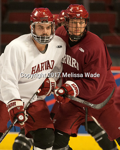 Clay Anderson (Harvard - 5), Ryan Begoon (Harvard - 3) - The Harvard University Crimson practiced at the United Center on Wednesday, April 5, 2017, in Chicago, Illinois.