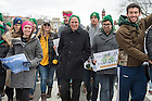 January 27, 2017; University of Notre Dame President Rev. John Jenkins, C.S.C., (center) marches with Notre Dame students at the National March for Life in Washington, D.C.  (Photo by Barbara Johnston/University of Notre Dame)