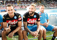 Arkadiusz Milik ,\Lorenzo Tonelli  and Emanuele Giaccherini during the friendly soccer match,between SSC Napoli and Onc Nice      at  the San  Paolo   stadium in Naples  Italy , August 01, 2016<br />  during the friendly soccer match,between SSC Napoli and Onc Nice      at  the San  Paolo   stadium in Naples  Italy , August 02, 2016