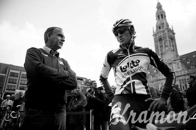 Brabantse Pijl 2012.Leuven-Overijse: 195,7km..Marc Sergeant & Francis De Greef.Francis didn't participate in the race, but drove by while on training