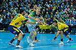 Anton Lindskog (HSG Wetzlar Nr.66) setzt sich am Kreis gegen Ilija Abutovic (GER - Rhein Neckar Löwen Nr.20)  und Gedeon Villaplana Guardiola (GER - Rhein Neckar Löwen Nr.30)  durch - beim Bundesliga Spiel der HSG Wetzlar gegen die Rhein Neckar Löwen am 13.02.2020<br /> <br /> Foto © PIX-Sportfotos *** Foto ist honorarpflichtig! *** Auf Anfrage in hoeherer Qualitaet/Aufloesung. Belegexemplar erbeten. Veroeffentlichung ausschliesslich fuer journalistisch-publizistische Zwecke. For editorial use only.