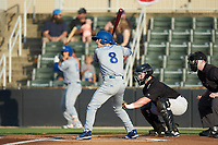 Nathan Eaton (8) of the Lexington Legends at bat against the Kannapolis Intimidators at Kannapolis Intimidators Stadium on August 3, 2019 in Kannapolis, North Carolina. The Intimidators defeated the Legends 3-2 in 11 innings. (Brian Westerholt/Four Seam Images)