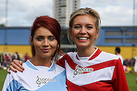 London, UK on Sunday 31st August, 2014. Amy Childs and Rachael Riley during the Soccer Six charity celebrity football tournament at Mile End Stadium, London.
