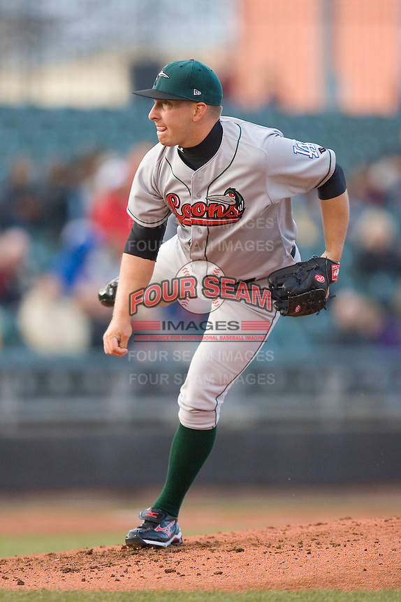 Starting pitcher Bobby Blevins #40 of the Great Lakes Loons follows through on his delivery at Fifth Third Field April 22, 2009 in Dayton, Ohio. (Photo by Brian Westerholt / Four Seam Images)