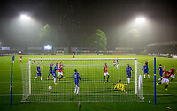 General view after James Wilson (right) of Man Utd scores his goal during the U23 Premier League 2 match between Chelsea and Manchester United at the EBB Stadium, Aldershot, England on 18 September 2017. Photo by Andy Rowland.