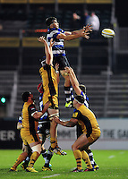 Josh Bayliss of Bath United wins the ball at a lineout. Aviva A-League match, between Bath United and Bristol United on September 19, 2016 at the Recreation Ground in Bath, England. Photo by: Patrick Khachfe / Onside Images