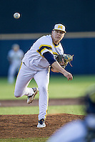 Michigan Wolverines pitcher Bryan Pall (6) delivers a pitch to the plate against the Central Michigan Chippewas on March 29, 2016 at Ray Fisher Stadium in Ann Arbor, Michigan. Michigan defeated Central Michigan 9-7. (Andrew Woolley/Four Seam Images)