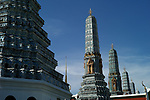 Prangs on the east side of the wat at the Grand Palace and Wat Phra Kaeo complex in Bangkok, Thailand