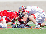 Palos Verdes, CA 03/26/16 - Sander Lush (San Clemente #8) and Colin Fitt (Palos Verdes #77) in action during the CIF Boys Lacrosse game between San Clemente Tritons and the Palos Verdes Seakings at Palos Verdes High School.  Palos Verdes defeated San Clemente 11-6