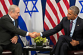 "(L to R) Prime Minister of Israel Benjamin Netanyahu shakes hands with United States President Barack Obama during a bilateral meeting at the Lotte New York Palace Hotel, September 21, 2016 in New York City. Last week, Israel and the United States agreed to a $38 billion, 10-year aid package for Israel. Obama is expected to discuss the need for a ""two-state solution"" for the Israeli-Palestinian conflict. <br /> Credit: Drew Angerer / Pool via CNP"