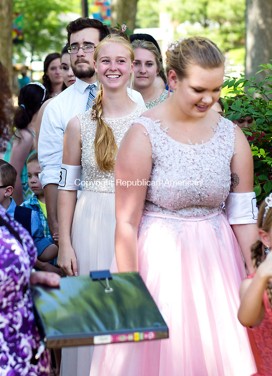 Winsted, CT- 11 June 2017-061117CM03- Contestant await the ceremonial crowning during the annual Laurel Festival Parade in Winsted on Sunday. Grace Valickis, center was named the 2017 Laurel Festival Queen.   Christopher Massa Republican-American