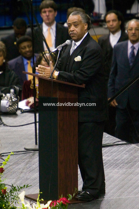 "30 December 2006 - Augusta, GA - Reverend Al Sharpton speaks on stage during a homecoming celebration for James Brown at the James Brown Arena in Augusta, USA, 30 December 2006. Singer James Brown, also known as the ""Godfather of Soul"", died on Christmas Day 2006."