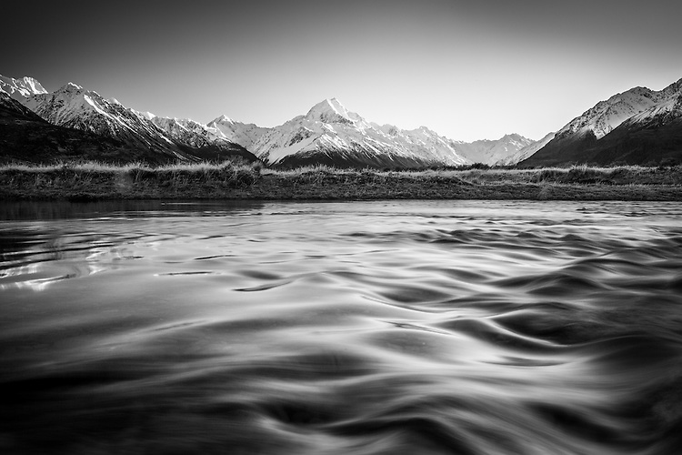 Mt Cook / Aoraki seen from the banks of the Tasman River, McKenzie Country