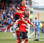 Jason Holt celebrates his goal for Rangers with Martyn Waghorn and Kenny Miller