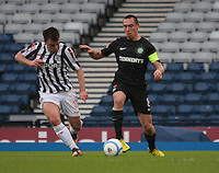 Paul McGowan (left) and Scott Brown go for the ball in the St Mirren v Celtic Scottish Communities League Cup Semi Final match played at Hampden Park, Glasgow on 27.1.13.