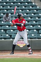 Jake Gatewood (7) of the Carolina Mudcats at bat against the Winston-Salem Dash at BB&T Ballpark on May 21, 2017 in Winston-Salem, North Carolina.  The Mudcats defeated the Dash 3-0 in 10 innings.  (Brian Westerholt/Four Seam Images)