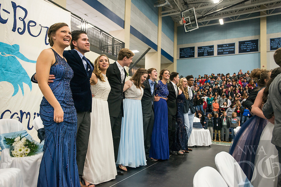 NWA Democrat-Gazette/ANTHONY REYES &bull; @NWATONYR<br /> The Har-Ber High School Winter Homecoming senior court sing the school's alma mater Friday, Feb. 26, 2016 during a pep rally at Wildcat Arena in Springdale. The Winter Homecoming court was presented to the student body. They were also treated to songs from the school's Lighthouse Choir and guest speaker Shannon Tisher.