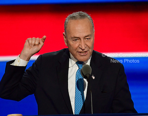 United States Senator Chuck Schumer (Democrat of New York) makes remarks during the second session of the 2016 Democratic National Convention at the Wells Fargo Center in Philadelphia, Pennsylvania on Tuesday, July 26, 2016.<br /> Credit: Ron Sachs / CNP<br /> (RESTRICTION: NO New York or New Jersey Newspapers or newspapers within a 75 mile radius of New York City)