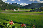 Austrian fields and farm building, Imst district, Tyrol/Tirol, Austria, Alps.