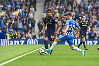 Mason Holgate of Everton (30) and Solly March of Brighton & Hove Albion (20)  during the Premier League match between Brighton and Hove Albion and Everton at the American Express Community Stadium, Brighton and Hove, England on 15 October 2017. Photo by Edward Thomas / PRiME Media Images.