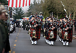 The somber sound of bagpipers lead the procession for National Park Service Ranger Margaret Anderson at the Pacific Lutheran University in Tacoma on January 10, 2010.   Anderson, was slain at Mount Rainier on New Years' Day when she set up a road block to intercept a vehicle, driven by Benjamin Barnes, who failed to stop at a chain-up checkpoint.  Barnes, the suspect  in the shooting was found dead was found dead the next day. He had drown in Paradise Creek.    ©2012. Jim Bryant Photo. All RIGHTS RESERVED.