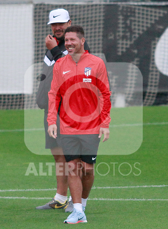 Atletico de Madrid's coach Diego Pablo Cholo Simeone and his second German El Mono Burgos during the first training session 2017/2018 season. July 6, 2017. (ALTERPHOTOS/Acero)
