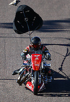 Feb 26, 2016; Chandler, AZ, USA; NHRA top fuel Harley motorcycle rider Tommy Grimes during qualifying for the Carquest Nationals at Wild Horse Pass Motorsports Park. Mandatory Credit: Mark J. Rebilas-