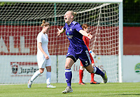 20180501 - TUBIZE , BELGIUM : Anderlecht's Ella Van Kerkhoven pictured celebrating her goal and the 1-0 lead for Anderlecht during a womensoccer game between  RSC Anderlecht Dames and KRC Genk Ladies , during play-off 1 , at the Euro 2000 Center in Tubize , tuesday 1 st May 2018 . PHOTO SPORTPIX.BE | DAVID CATRY