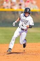 Daniel Gerow #15 of the Davidson Wildcats hustles towards third base against the College of Charleston Cougars at Wilson Field on March 12, 2011 in Davidson, North Carolina.  The Wildcats defeated the Cougars 8-3.  Photo by Brian Westerholt / Four Seam Images