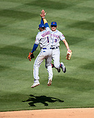 New York Mets shortstop Amed Rosario (1) and center fielder Brandon Nimmo (9) celebrate their team's 2 - 0 opening day victory over the Washington Nationals at Nationals Park in Washington, D.C. on Thursday, March 28, 2018.<br /> Credit: Ron Sachs / CNP<br /> (RESTRICTION: NO New York or New Jersey Newspapers or newspapers within a 75 mile radius of New York City)