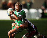Fritz Lee tackles Manawatu fullback Casey Stone during the Air NZ Cup rugby match between Manawatu Turbos and Counties-Manukau Steelers at FMG Stadium, Palmerston North, New Zealand on Sunday, 2 August 2009. Photo: Dave Lintott / lintottphoto.co.nz