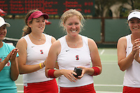 23 May 2006: Theresa Logar during Stanford's 4-1 win over the Miami Hurricanes in the 2006 NCAA Division 1 Women's Tennis Team Championships at the Taube Family Tennis Stadium in Stanford, CA.