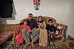 17/04/15. Goktapa, Iraq. Dhuha, Jasm, Rahima and Ali posing for a family picture.