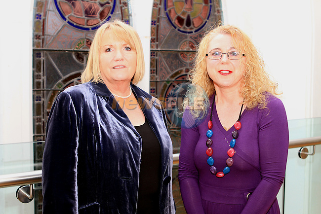 Christine Reilly with Edel Gillick of the Small Impact Writers at the Launch of the Calendar in aid of Drogheda Homeless Aid in the Highlanes Gallery...(Photo credit should read Jenny Matthews www.newsfile.ie)....This Picture has been sent you under the conditions enclosed by:.Newsfile Ltd..The Studio,.Millmount Abbey,.Drogheda,.Co Meath..Ireland..Tel: +353(0)41-9871240.Fax: +353(0)41-9871260.GSM: +353(0)86-2500958.email: pictures@newsfile.ie.www.newsfile.ie.
