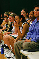 Assistant Coach Alan Nakamura sits on the bench with members of Point Loma Nazarene University's Sea Lions Womens basketball team during their game against UW Eau Claire at the 2007 Surf N Slam Women?s Basketball Tournament in Golden Gymnasium on the PLNU campus, San Diego, Saturday December 29 2007.   PLNU played host to the tournament December 27, 28 and 29.  The eight team field included seven NCAA DIII schools; UW Stevens Point, UW Eau Claire, Carroll (WI), Gustavus Adolphus (MN), Ithaca (NY), Maryville (MO), Rivier (NH). Point Loma was the only NAIA school competing and defeated Wisconsin-Eau Claire 71-51 Saturday in Golden Gymnasium to take fourth place.  The tournament was won by Maryville who defeated Gustavus Aldolphus 68-64 in the final game on Saturday.